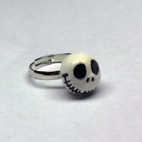 Jack Skellington Adjustable Ring, polymer clay jewelry, Made to Order