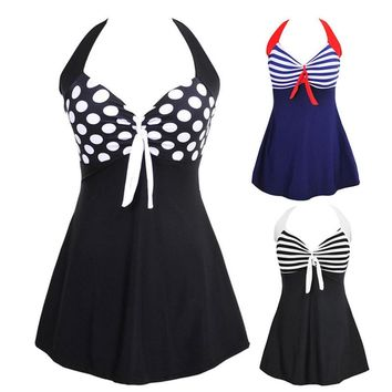 Plus size Stripes Halter Skirt Tankini Women Swimwear Bathing Suit Swimsuits