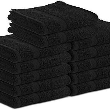 Cotton Salon Towels (12-Pack,Black,16x27 inches) - Quick Dry Gym-Salon-Spa Hand Towel