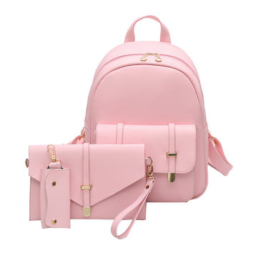 3Pcs/Set Small Women Backpacks School Bags For Teenage Girls Soft PU Leather Women Backpack Shoulder Bag Purse Sac A Dos