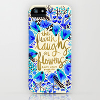 The Earth Laughs in Flowers – Gold & Blue iPhone & iPod Case by Cat Coquillette