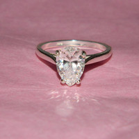 Engagement promise ring pear stone