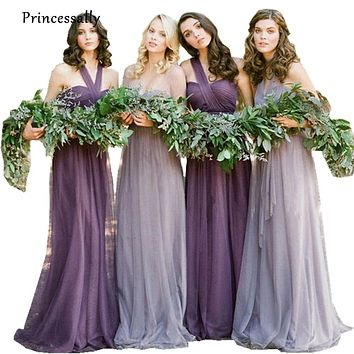 Vestidos De Novia Pastel Purple And Lavender Bridesmaid Dresses Long Tulle Vintage Vestido De Festa Longo Beautiful Plus Size
