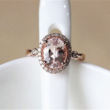 7x9mm Morganite Ring 14K Rose  Gold Pave Diamond Ring/ Engagement Ring/ Wedding Ring/Gift Ring