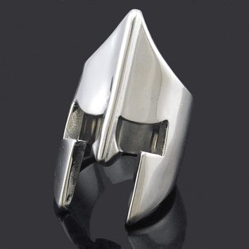 ATGO Cool Spartan  Helmet Mask Rings For Men Stainless Steel New Fashion Punk Rock Style 2017 Party Gift