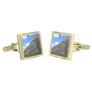 Chichen Itza Temple of Kukulcan south-west View Gold Finish Cufflinks