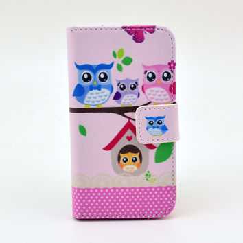 Owl Printed Leather Wallet Case Cover