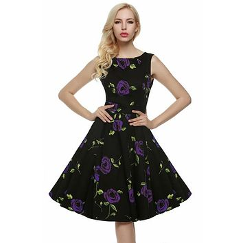 Floral Swing Summer Dress in Back with Purple Roses