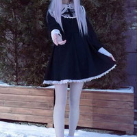 Japanese Harajuku Black and White Gothic Lolita Dress Girls Nun Sister Anime Cosplay Party Dress