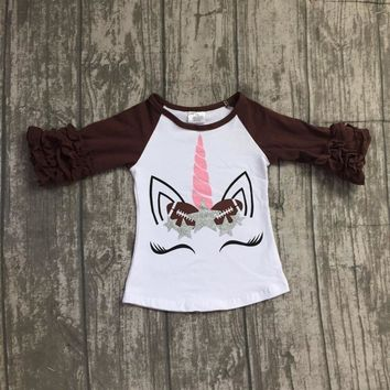 2018 Fall new arrival brown white T-shirt unicorn top 3/4 sleeves ruffle sleeves 12m-8t available super cute girls clothing