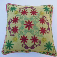 """16x16"""" Suzani Pillow, Throw Pillow, Decorative Pillow Cover, Cotton Pillow Cover, Suzani Embroidered Pillow Thow For Home Decor,"""