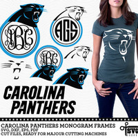 Carolina Panthers Monogram Frames. Vector Digital Cut Files. SVG, dxf, eps, pdf for Silhouette, Cricut, SCAL yeti vinyl Die Cutting CF-27