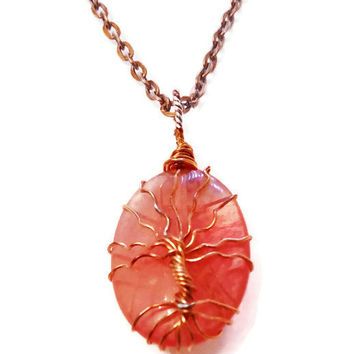 Copper Wire Wrapped Cherry Quartz Tree of Life Gemstone Necklace,, Unique Birthday Gift, Tree of Life Necklace, Chakra Jewelry