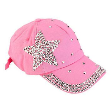 Women Girls Rhinestone Star Shaped Studded Cotton Hat Bling Shining Pink Baseball Cap Summer 2016 Hot Sale