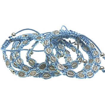 10 Light Blue Cord Miraculous Medal Rosary Bracelets with Prayer Booklets