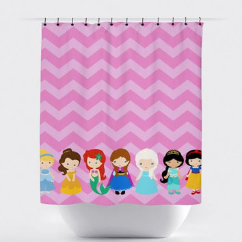 Small Pink Chevron Princess Shower Curtain