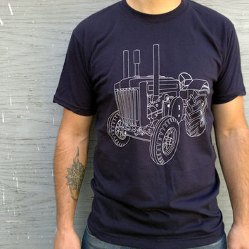 Clothing - Men's Tshirt : TRACTOR TSHIRT/  Navy American Apparel Tshirt Small/Medium/Large/Extra Large/XXL
