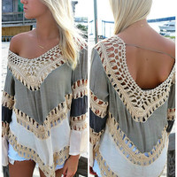 Weekend Waves Multi Color Taupe Crochet Top