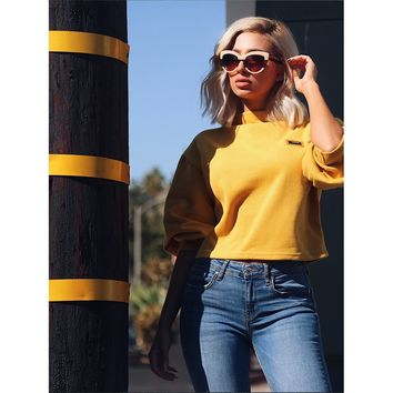 Yellow Stand Collar Long Sleeve Sweatshirt