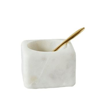 White Marble Salt Pinch Bowl with Demi Spoon