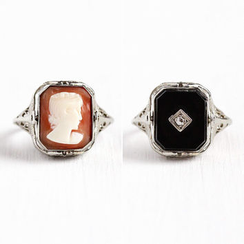 Vintage Flip Ring - 10k White Gold Filigree Fine Jewelry - Size 5 Onyx Diamond Carved Cameo Art Deco 1930s Double Sided Jewelry for Her