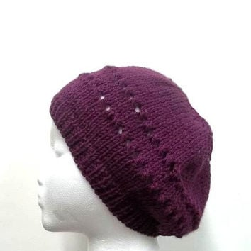 Purple knit beanie with eyelets, hand knitted - free shipping   4712