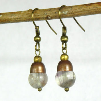 Quartz Earrings - Quartz Copper and Brass Dangle Earrings