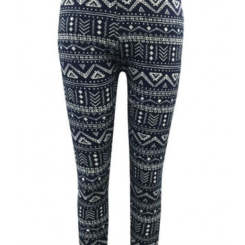 Megan Girls Blue Tribal Leggings