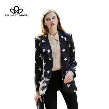 VONE2B5 2015 autumn winter new five-pointed star print black long blazer jacket coat
