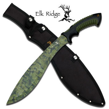 Elk Ridge Green Camo Blade Bolo Machete - Double Injection Handle