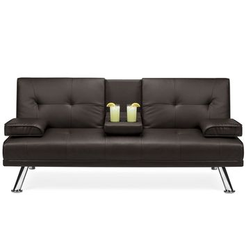 Brown Faux Leather Convertible Sofa Futon with 2 Cup Holders