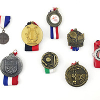 Vintage Medals Collection, Lot of 8 / Vintage Sports Sporting Event Trophies, Awards / Volleyball, Basketball Prizes / Instant Collection
