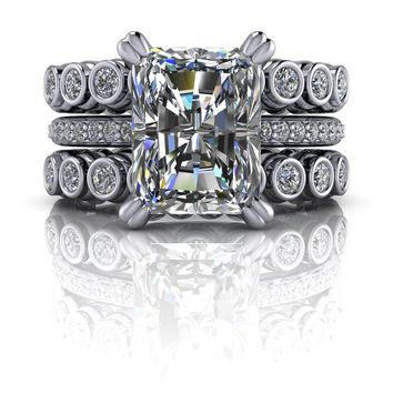 Radiant Cut Engagement Ring - Diamond Ring - Stackable Wedding Bands - Insieme™ Bridal Stackables