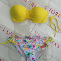 New Sexy Victoria's Secret Madi Swimsuit Bandeau Bikini 36C underwire top L