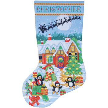 """Penguin Party Stocking Counted Cross Stitch Kit 17"""" Long 14 Count"""