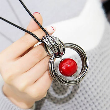 New circles simulated pearl ball pendant long necklace women black chain fashion jewelry  gift
