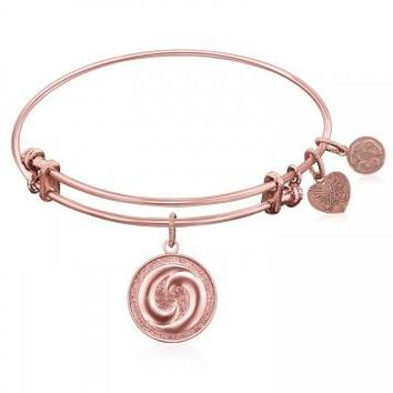 Expandable Bangle in Pink Tone Brass with Yin And Yang Perfect Balance Symbol