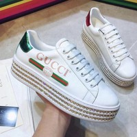 Gucci Ace Platform Leather Sneaker With Crystals