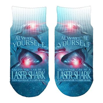 Always Be Yourself Unless Laser Shark All Over Toddler Ankle Socks