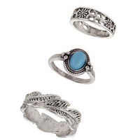 Leaf Ring Pack - Turquoise