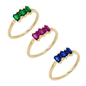 Multi-Color Baguette Ring Set