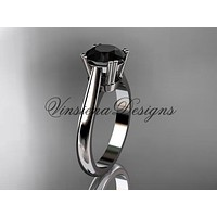 Platinum wedding ring, engagement ring, Black Diamond VD10058