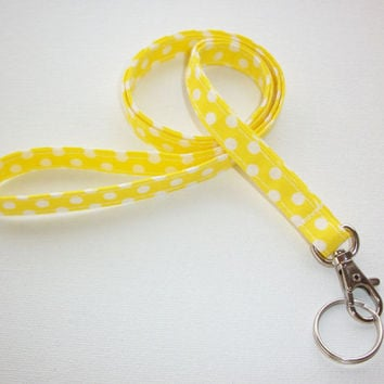 Lanyard ID Badge Holder - NEW THINNER design - White Polka Dots on yellow - Lobster clasp and key ring