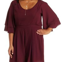 Plus Size Burgundy Flutter Sleeve Romper by Charlotte Russe