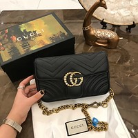 GUCCI Marmont pearl Double G Shoulder bag