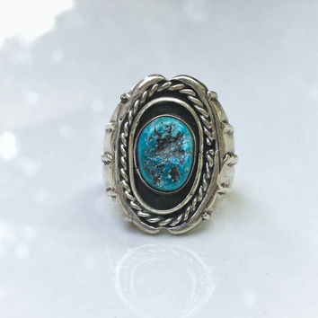 Vintage Native American Handmade Men's Turquoise Ring, Vintage Men's Ring, Sterling Silver Men's Ring
