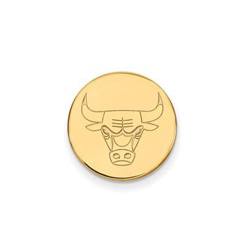 NBA 14k Yellow Gold Plated Silver Chicago Bulls Lapel Pin