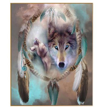 PHKV Diy Pictures By Numbers New Design Canvas Digital Drawing Coloring Oils Painting By Numbers Fantasy Wolf Totem Wall Arts