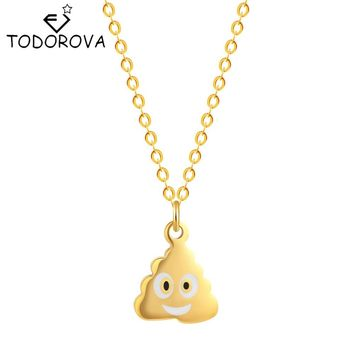 Todorova Pile Poo Poop Emoji Emoticon Women Mens Funny Fashion Necklace Pendant Steampunk Jewelry Best Friends Gifts Chain