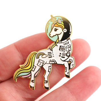 SALE 20% OFF Unicorn enamel pin, Gold glitter lapel pin, astronaut pin, space lover, unicorn space suit, space helmet pin, unicorn lapel pin